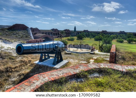 Cannon in Fort Jefferson at the Dry Tortugas National Park, Florida. - stock photo