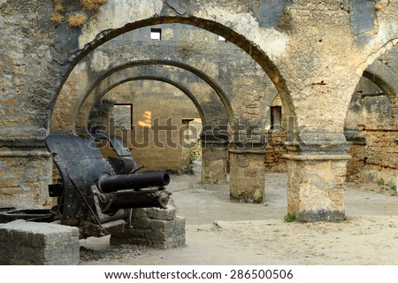 Cannon in the Portuguese fort in the Diu town in Gujarat. India