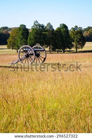 Cannon in Wide Field at Chickamauga and Chattanooga National Military Park - stock photo