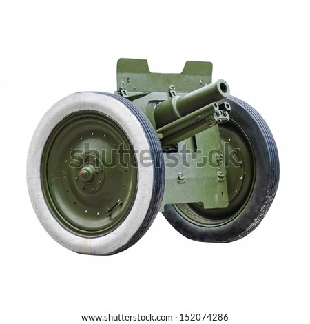 cannon isolated on white, World War II - stock photo