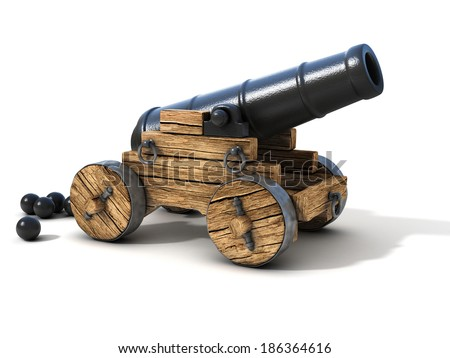 cannon on a white background - stock photo