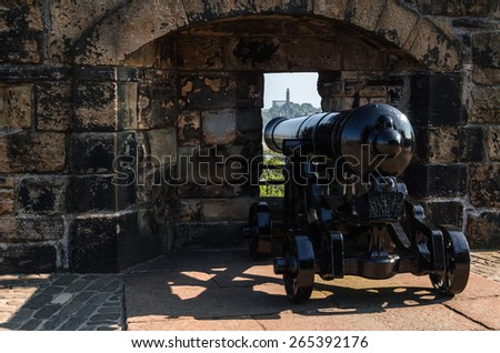 Cannon over Edinburgh - stock photo