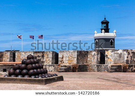 cannonballs at  El Morro fort in San Juan,  San Juan, Puerto Rico - stock photo