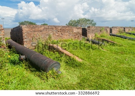 Cannons at a fortress of Sao Jose de Macapa (St Joseph)  in city Macapa, Brazil - stock photo