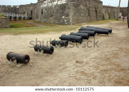 Cannons at St Augustine fort - stock photo