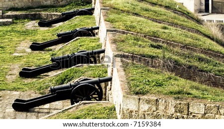 Cannons exposed in Ciudad Rodrigo, Spain