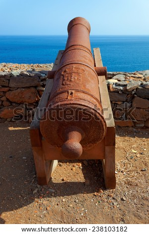Cannons on Preguica, Sao Nicolau island, Cape Verde (Cabo Verde), Africa (remains of the fortress built in defense against Sir Francis Drake) - stock photo