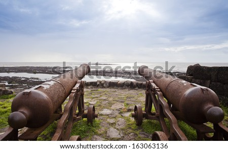 Cannons on the beach, Alibag, Raigad District, Konkan, Maharashtra, India - stock photo