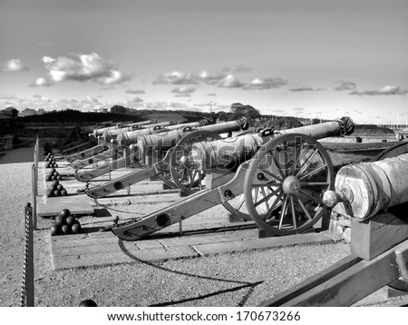 Cannons over a Danish harbor