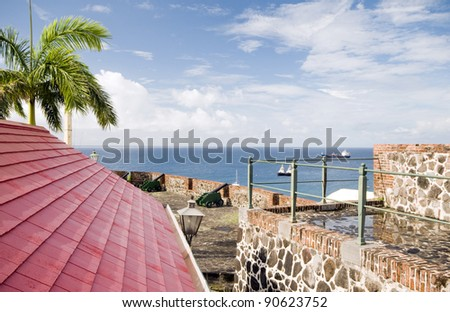 cannons over harbor Fort Oranje Oranjestad Sint St Eustatius island in the Caribbean Netherlands - stock photo