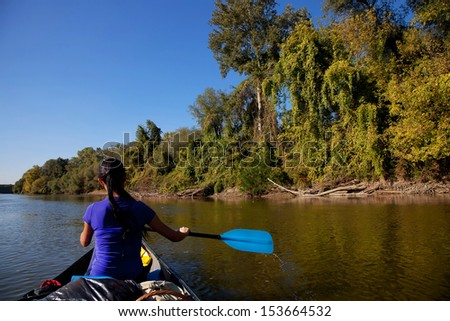 Canoeing expedition - stock photo