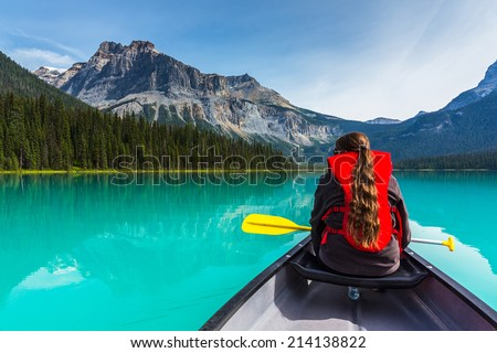 Canoeing on Emerald Lake in summer at the Yoho National Park alberta canada - stock photo