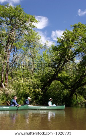 Canoes on the water surrounded by green trees - stock photo