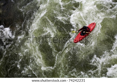 canoing on white water river - stock photo