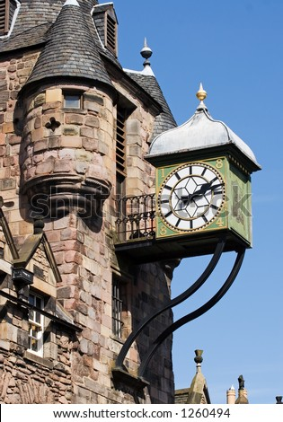 Canongate Clock, Edinburgh, Scotland - stock photo