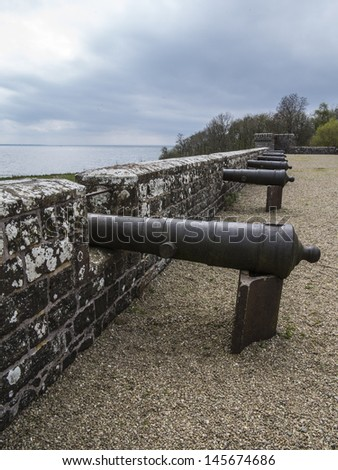 canons overlooking sea - stock photo