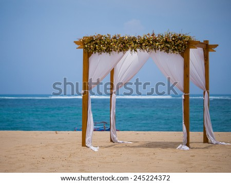 Canopy on the beach in Bali Indonesia - stock photo