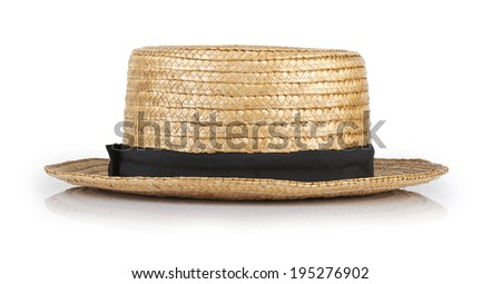 Canotier straw isolated on white background - stock photo