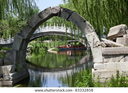 Canqiao Ruined Bridge Yuanming Yuan Old Summer Palace Willows Beijing China  Last existing bridge in the Old Summer Palace, which was destroyed in 1860 Second Opium War