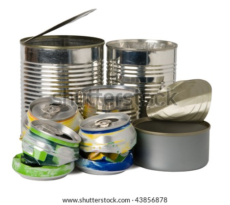 Cans and tins prepared for recycling - stock photo