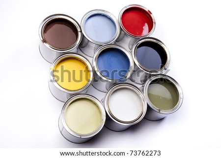 Cans, Background color - stock photo