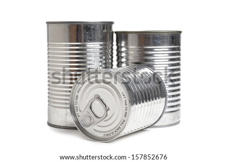 cans of food isolated on white background - stock photo
