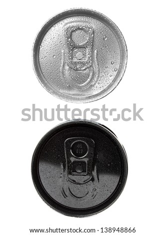cans view above on white background (isolated)