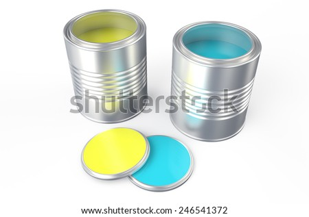 Cans with yellow and blue paint isolated on white background - stock photo