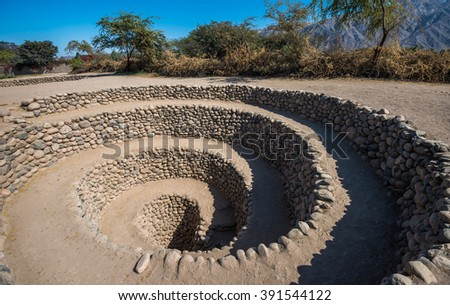 Cantalloc Aqueduct near Nazca, Peru - stock photo