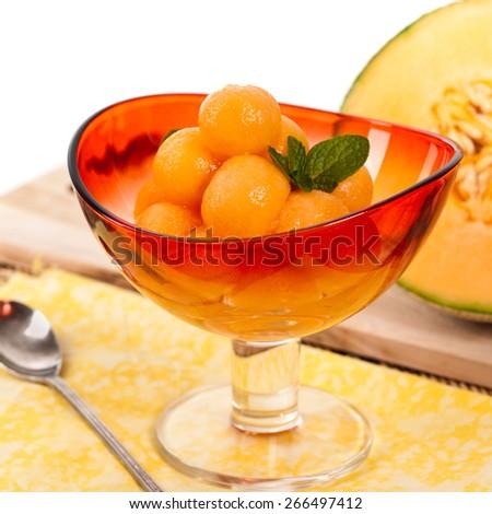 Cantaloupe Melon and Mint. Shallow dof. Selective soft focus. - stock photo
