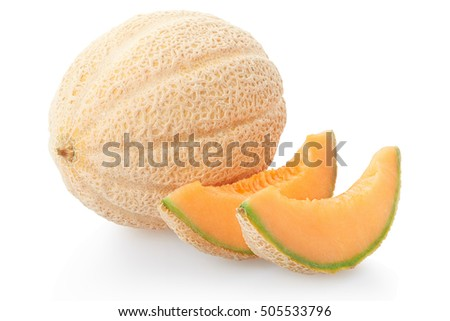 Cantaloupe melon and slices on white, clipping path