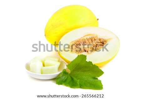 Cantaloupe melon isolated on white.  Fruits with leaves.