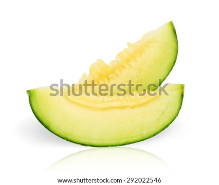 cantaloupe melon slices isolated on white background. This has clipping path. - stock photo