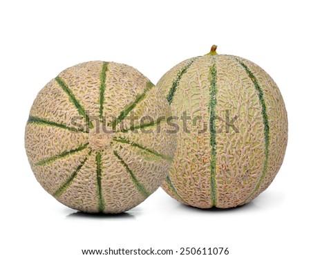 cantaloupe melons isolated on white background - stock photo