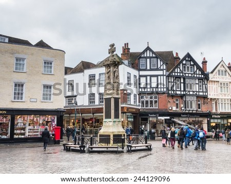 CANTERBURY, UK - JAN 13, 2015 The Butter Market is situated in the heart of Canterbury opposite the cathedral. The pedestrianised court yard has served as focal point for more than 800 years. - stock photo