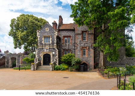 CANTERBURY, UK - 12JUL2016: Tower House is a council owned property in Westgate Gardens used for weddings and other events.