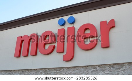 CANTON, MI - DECEMBER 29:  Meijer, whose Canton location logo is shown on December 29, 2014, has 200 stores.  - stock photo