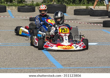 Cantu , Italy -7 September 2014 : exhibition open to the public go-kart : karting portrait
