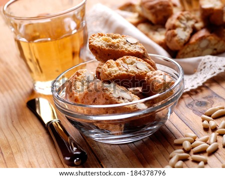 cantucci cookies in glass bowl - traditional Italian confectionery products - stock photo