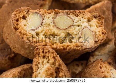 Cantuccini alla mandorla, italian cookies close up - stock photo