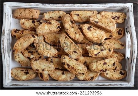 Cantuccini, original Italian crisp almond cookies - sweet food - stock photo