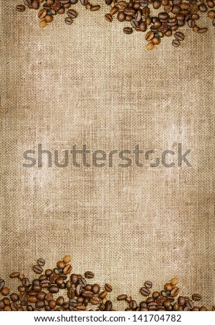 Canvas and Coffee Beans Vertical Photo Background. Copy Space Collection. - stock photo