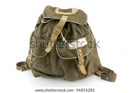 Canvas backpack isolated on white - stock photo