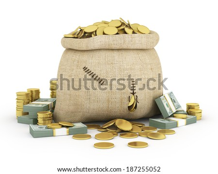 Canvas bag filled with coins. A white background. Isolated. - stock photo