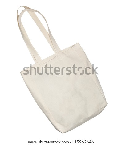 canvas bag isolated on white background - stock photo