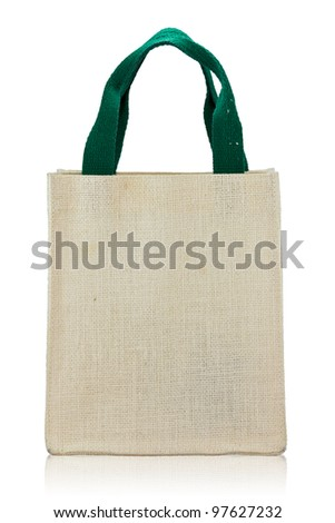 Canvas bag on a white background - stock photo