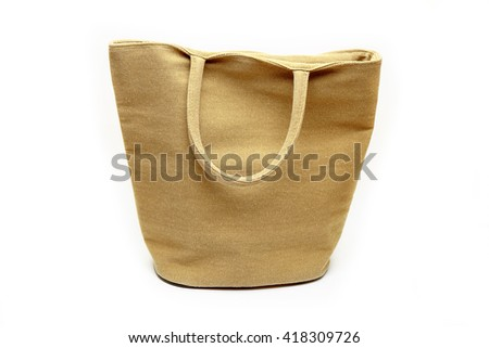 Canvas bag on white background. - stock photo