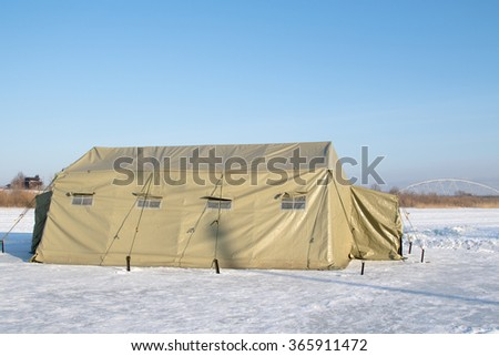 Canvas military tents, winter