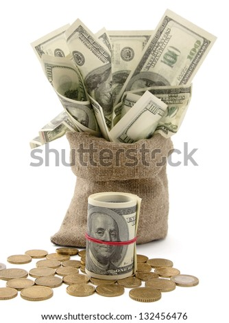 Canvas money sack with one hundred dollar bills, isolated  on white background