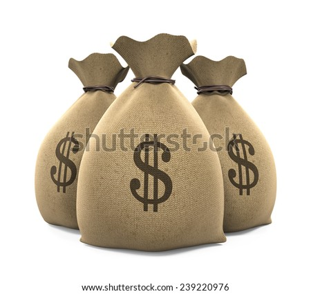 Canvas Money Sacks - stock photo
